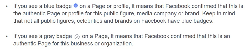Facebook's official explanation of the difference between gray and blue badge verification