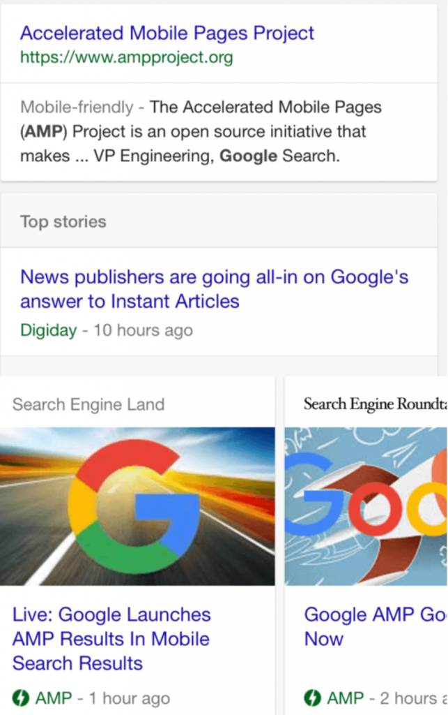 Google AMP Screen Shot Of Google Results