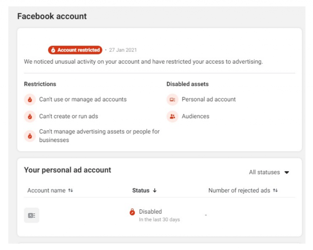 Unexplained Personal Account Bans & Locking Facebook Ads Accounts